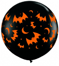3ft Giant Balloons -  Halloween Bats 3ft Latex Balloon 1pc